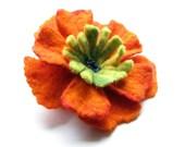 Felted  Brooch Orange Flower orange felt nuno nunofelt silk flower