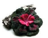 Green Flower Brooch Hand Felted Flower Green Jerwelry