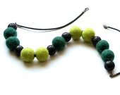 Lime Green  Necklace  Felt Necklace Green and Black