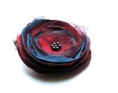 Cherry Flower Brooch - Flower Brooch  - Handmade Fabric Brooch - Cherry Blue Flower-   Ready to ship