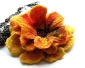 Hand felted flower brooch - Mustard Brooch