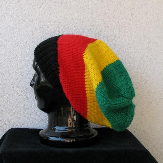 simple slouchy beanie hat in color rasta,  slouchy hat for men or women, Bob Marley, reggae - rasta colors -