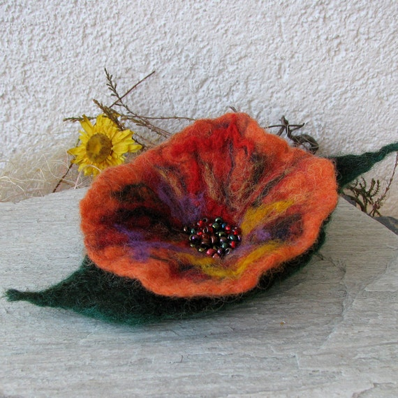 Felt Brooch - Poppy Felted Flower - Hand Felted Brooch - Orange Flower Brooch - Wool Flowers Felted Brooch
