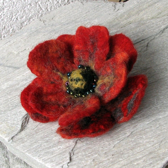 Red Poppy - Red Flower - Brooch Hand Felted Flower
