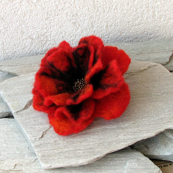 Red Poppy - Red Flower - Flower Brooch - Brooch Hand Felted Flower