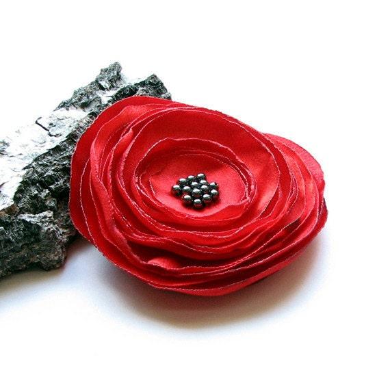 Valentine's Day Brooch Red Flower Red Brooch
