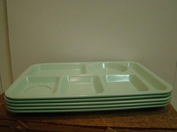 Set of 5 ABC Melmac/Plastic School Lunch Trays