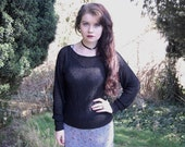 90s Grunge Goth Black Cobweb Sweater S-M