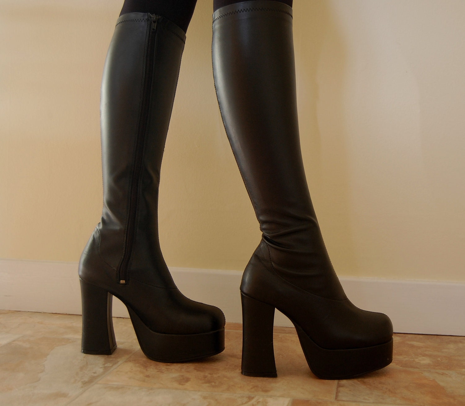 90s Grunge Goth Black Knee High Chunky Platform Boots UK 4 /