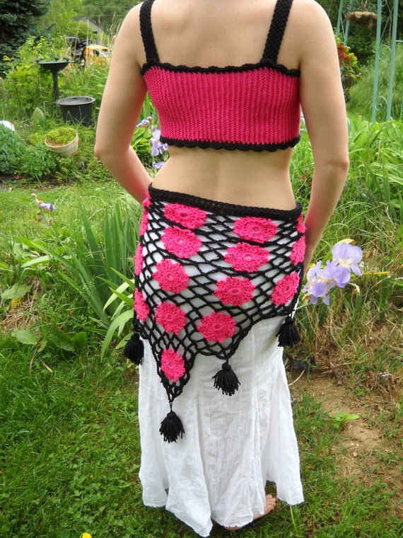 "The ""Chain Reaction"" Crochet Tribal Belly dance Hip Scarf, Made to Order"