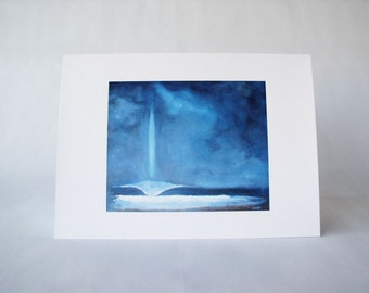 "Beach Themed Blank Note Card. Waves. Single Folded Greeting Card. ""Light Wave"""