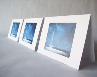 """Beach Themed Cards. Folded Blank Greeting Cards.  """"Light Wave"""" (Set of 6)"""
