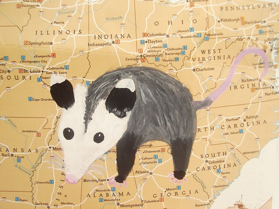 Possum Painting - Hand Painted on Vintage Map of the USA