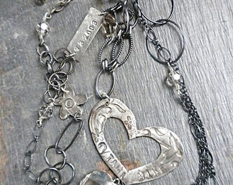 """36"""" necklace with Swarovski crystals, fine silver heart and charms with oxidized sterling chain"""