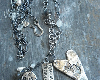Fine silver heart and charms personalized custom necklace with semiprecious stones