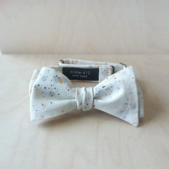 Gray/Orange Watercolor Cotton Unisex Bow Tie