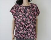 vintage floral cap sleeve slouchy grunge black / red blouse m / l