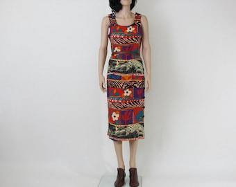 tribal / safari indie vintage 1980s dress