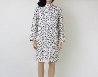 mod 60s cotton spring white / beige floral vintage mandarin collar dress
