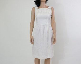 LANZ ORIGINAL white eyelet lace bow 50s dress S