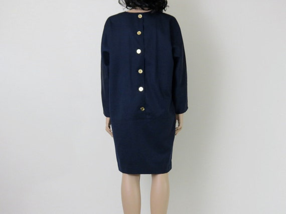 navy blue minimalist 1970s vintage dress