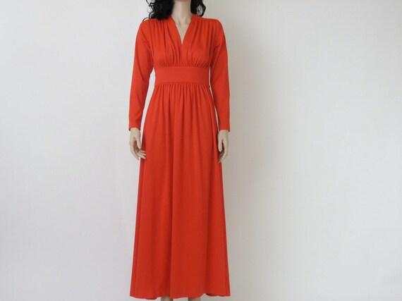 70s vintage gypsy maxi red / tangerine dress