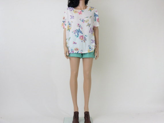butterfly floral print pastel slouchy blouse