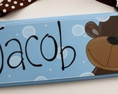 6x12 little boys personalized monkey name sign