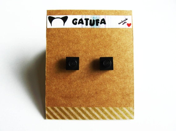 Black Square Lego Ear Studs - Ready to Ship & Give as a Gift