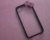 Black with Hot Pink Swarovski crystal Bow iPhone 4/4s Bumper