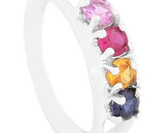 Sterling Silver Custom Made to Go Mother's Family Birthstone Ring