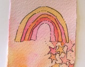 "Valentines Original Art Watercolor ""Rainbow Stars For You"" Card Blank With Envelope betrueoriginals"