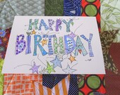 "Happy Birthday Stars ""Big Card"" Original Watercolor Art Blank betrueoriginals"