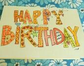 """Happy Birthday """"Big Card"""" Original Watercolor Art Blank betrueoriginals"""