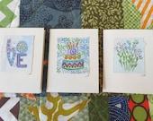 "Three Watercolor ""Blues"" Card Original Art  Blank With Envelope betrueoriginals"