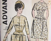Vintage 1960s  Advance 9623 UNCUT Sewing Pattern Two Piece Dress with full skirt and big pockets Size 16  Bust 36