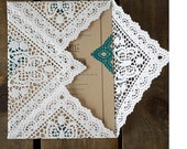 RESERVED LISTING - Square Lace Paper Doilies, Wedding Invitation Liners-THREE Sets of 10, 9 Inches