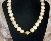 SALE - Cream and Gold Pearl and Crystal Reversible Choker