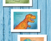 DINOSAUR KIDS COLLECTION Set of 3 Art Prints 8-1/2x11 by Rob Osborne