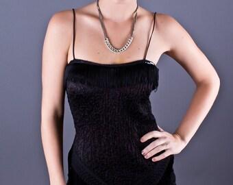 SALE 50% OFF Vintage 80s Super Stretchy Little Black Dress with Fringe