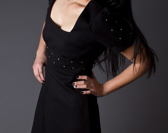 SALE 50% OFF 80 Vintage Puff Sleeve Dress with Rhinestone Studs