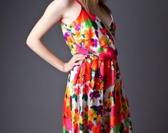 SALE 50% OFF 70s Vintage Neon Floral Print Sundress