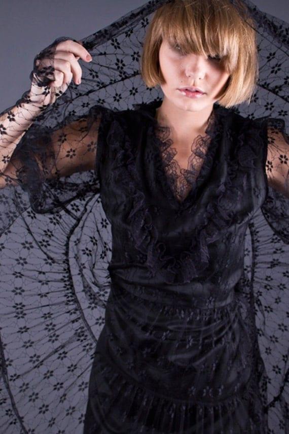 SALE 50% OFF Vintage 70s Black Layered Lace Dress