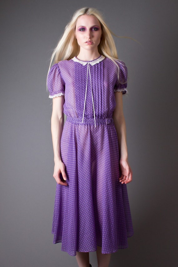 RESERVED Vintage 80s Pleated Sheer Lavender Day Dress