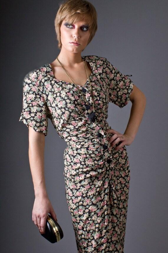 Vintage 90s Button Front Floral Dress