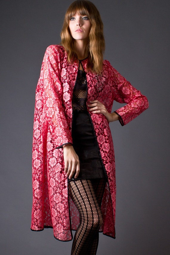 RESERVED 70s Vintage Red and Pink Lace Robe