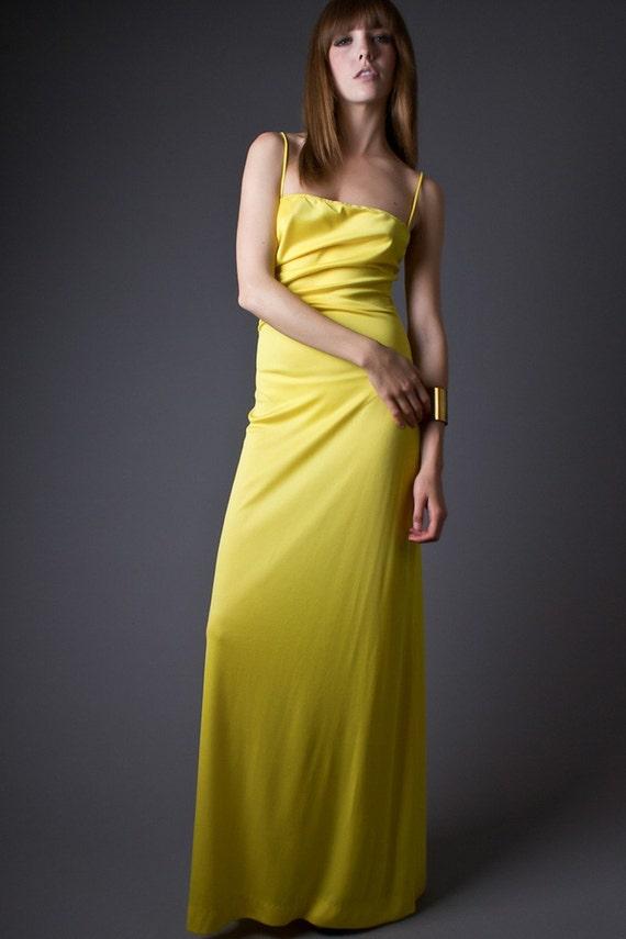 70s Vintage Slinky Spagehtti Strap Maxi in Lemon Yellow