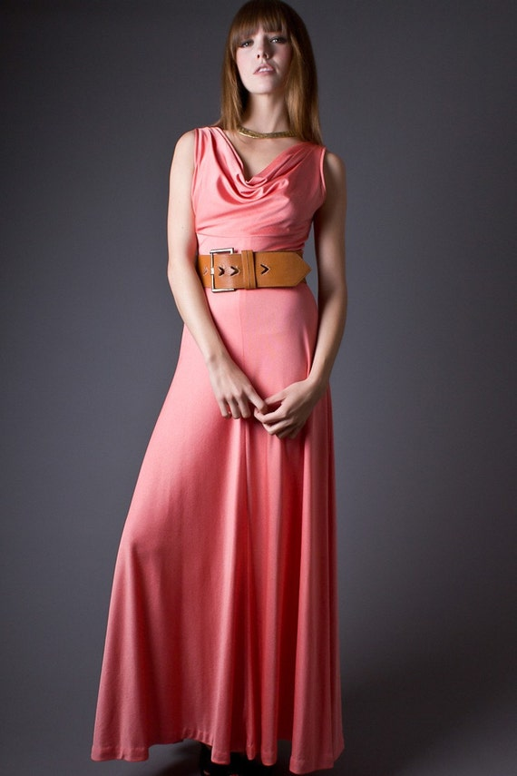 SALE 50% OFF 70s Vintage Draped Neck Maxi Dress in Peach
