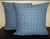 Set of 2 Pillow Covers 16x16 inch-Free Shipping - Blue Lacey Madallion