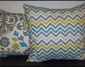 Mixed Set of 2 Pillow Covers 18x18-Free Shipping - Chevron Zig Zag and Suzani Summerland Natural Home Decor Fabric